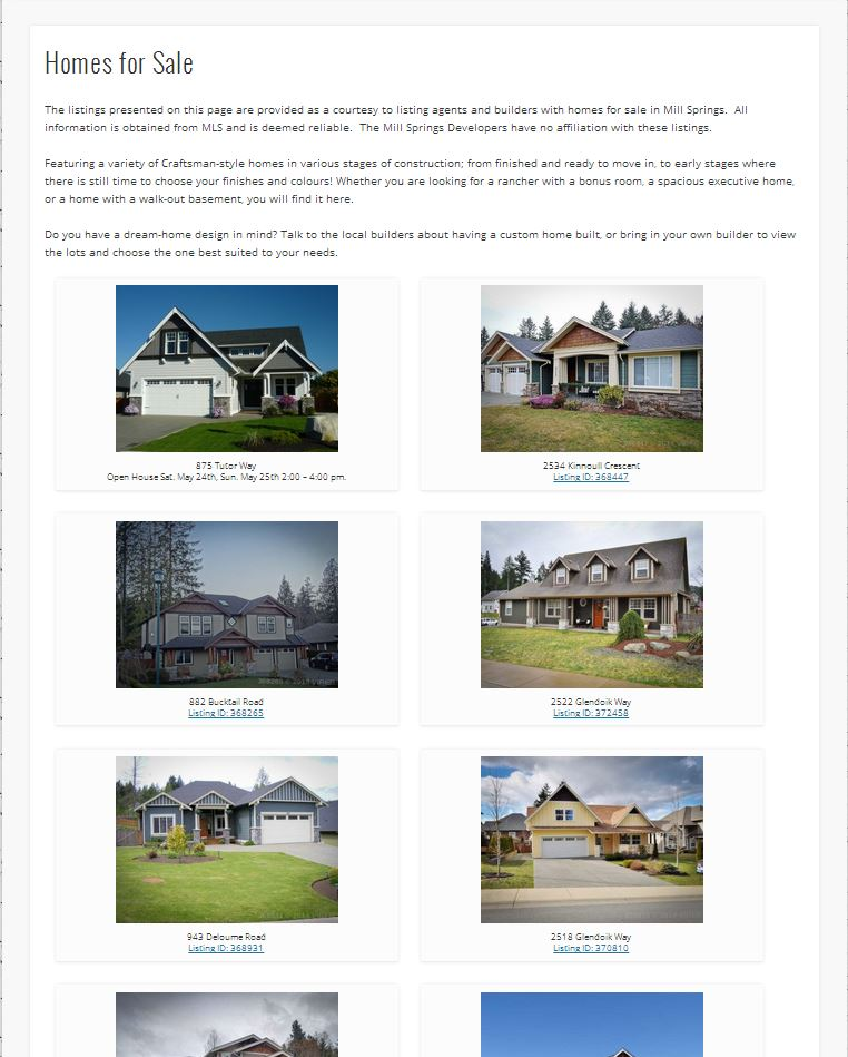 millsprings.ca homes for sale page